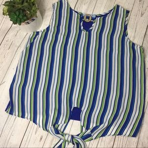 Tops - Cute blue, green, and white striped top